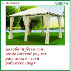 GAZEBO IN FERRO CON TENDE LATERALI 3x4 MT