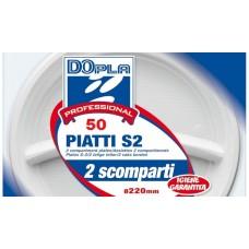 PIATTI 2 SCOMPARTI SUPERRIGIDI 50PZ BIANCHI