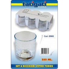 SET 6 BICCH. VETRO TOROS 255 ML.