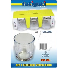 SET 6 BICCH. VETRO DORO 250 ML