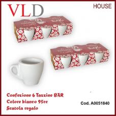 confezione 6 tazzine bar colore bianco